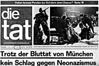 Titelseite die tat vom 03.10.1980 nach dem Anschlag auf das Münchener Oktoberfest.