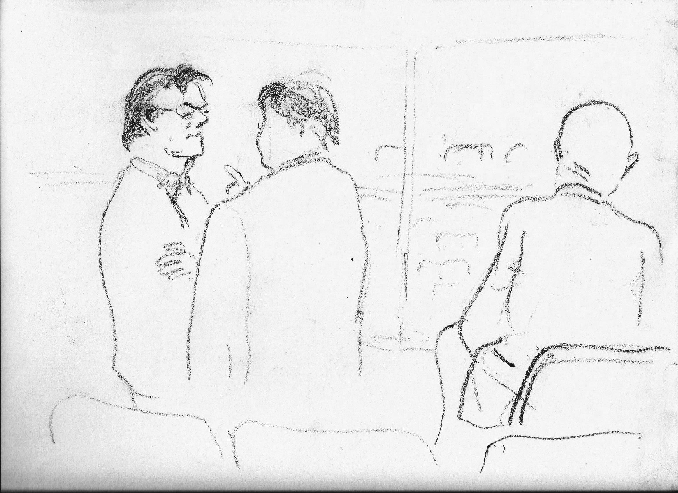 Pause im Zuschauerraum des OLG München. Von Günter Wangerin, http://guenterwangerin.jimdo.com/