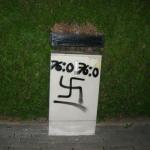 Nazisprüherei in Hamm mit zynischem 'bodycount'. (c) antifaschistisches jugendbbündnis hamm www.haekelclub590.de