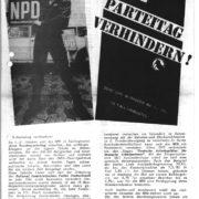 Aufruf zur Blockade des NPD-Bundesparteitages im Oktober 1983, zentrales Ereignis der 1980er Jahre.